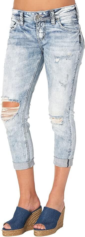 Amazon Com Silver Jeans Women S Sam Boyfriend Fit Mid
