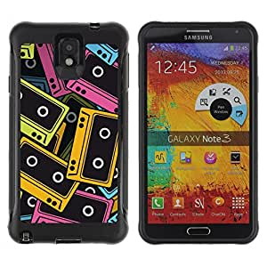 Be-Star único patrón Impacto Shock - Absorción y Anti-Arañazos Funda Carcasa Case Bumper Para SAMSUNG Galaxy Note 3 III / N9000 / N9005 ( Audio Tapes Illustration )