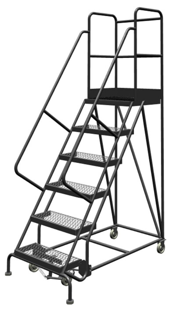 Tri-Arc KDSR106242-D2 6-Step 20'' Deep Top Steel Rolling Industrial & Warehouse Ladder with Handrails, 24'' Wide Grip Strut Tread