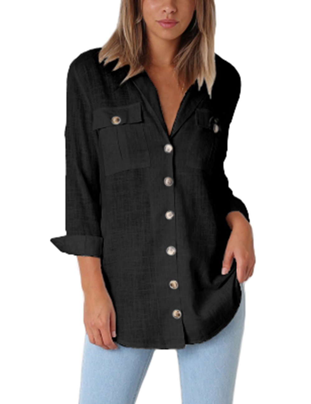 GRAPENT Women's Casual Loose Roll-up Sleeve Blouse Pocket Button Down Shirts Tops L(US 12-14)