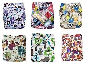 Bebé lavables pañales de tela reutilizables, transpirable, Snap ajustable, 6pcs paquete de bolsillo
