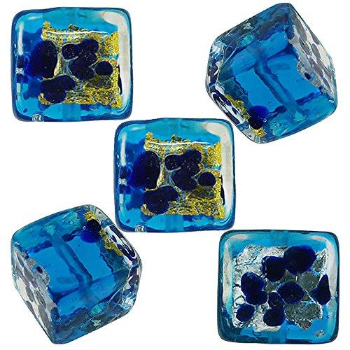(Aqua Gold, Silver with Blue Aventurina Luna Cube 10mm, Venetian Glass Bead 5 Pieces)