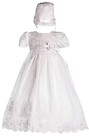 60113c54c5 Long White Classy Embroidered Organza Baby Girl Christening Baptism Special  Occasion Newborn Dress Gown with Matching Hat - M (6-12 Month