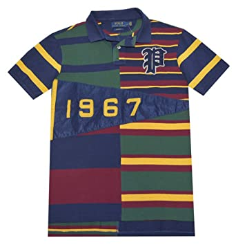1aee377f Polo Ralph Lauren Men Custom Fit Pieced Polo Shirt (Small, French Navy/Multi