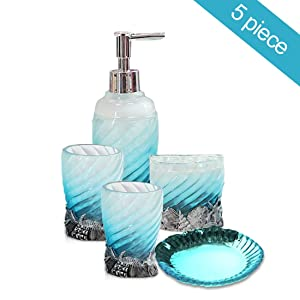 Creative Scents 5 Piece Bathroom Accessory Set, Hotsan Bath Ensemble Set Includes Soap Dispenser, Soap Dish, Tumble, Toothbrush Holder - Light Blue Polyresin Glass for Home, Office, Superior Hotel