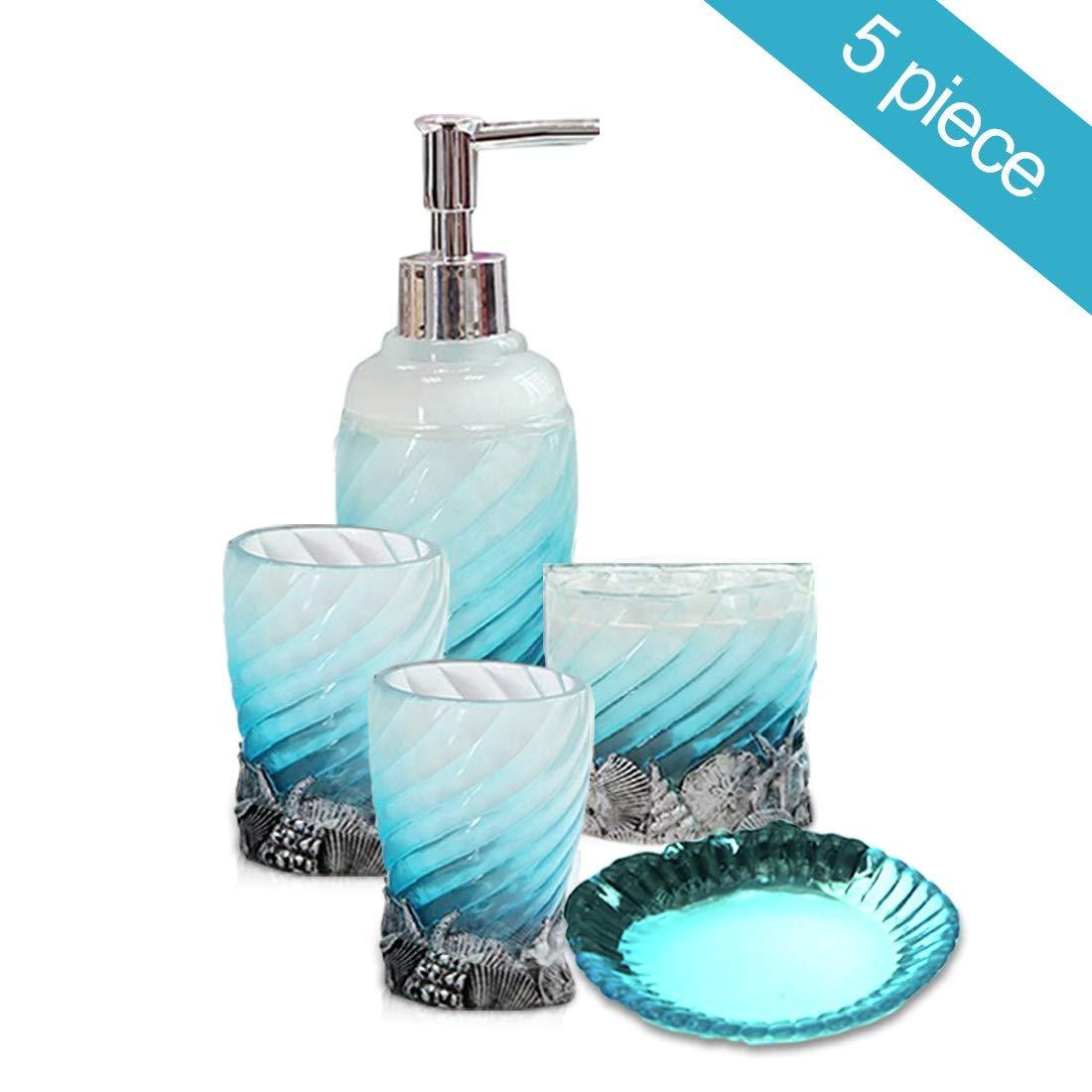 HotSan bathroom accessory Set, 5 PCS Bath Ensemble Set Includes Soap Dispenser, Soap Dish, Tumble, Toothbrush Holder - Light Blue Polyresin Glass for Home, Office, Superior Hotel