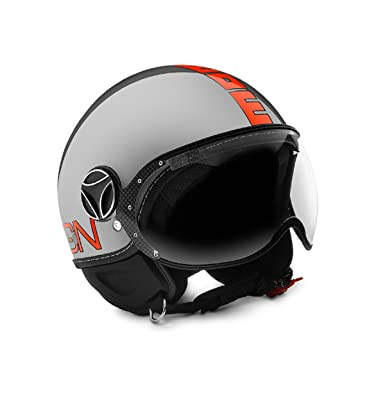 Casco Jet doble visera MOMODESIGN Fighter Evo Metal texto Fluo Naranja Talla XL