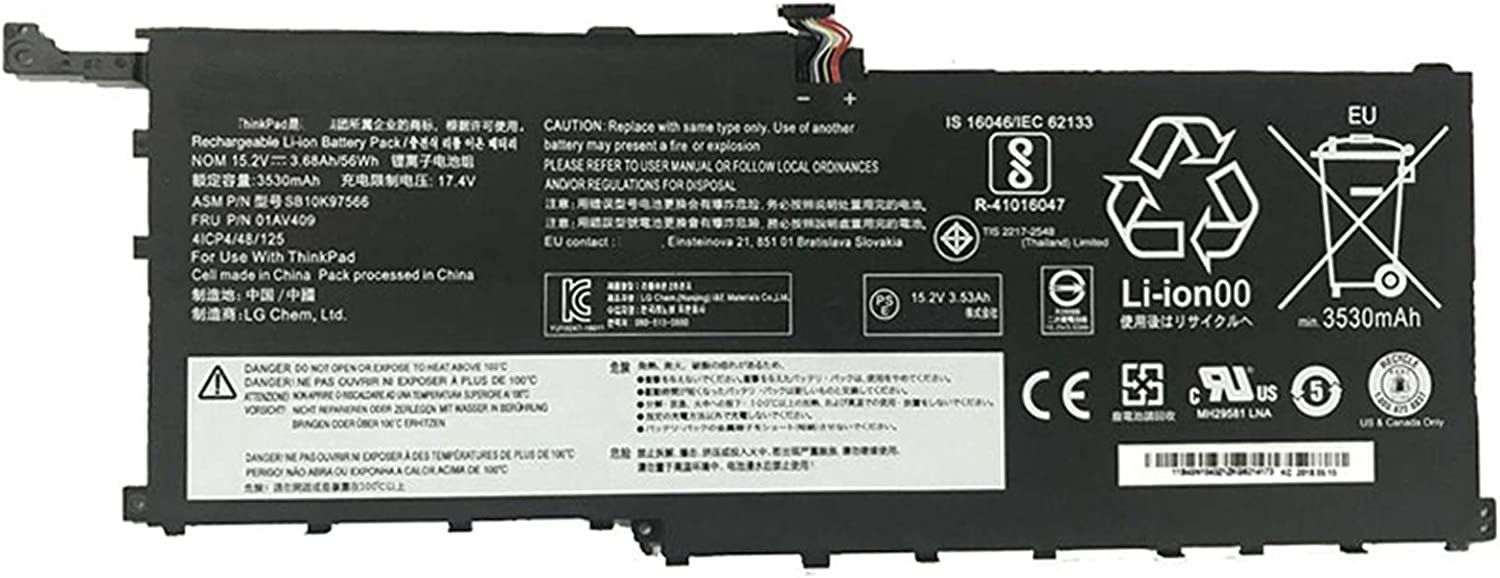 Dentsing 15.2V 56Wh/3680mAh 01AV409 Laptop Battery Compatible with Lenovo ThinkPad X1 Yoga Gen 1 Carbon Gen 6 Series Notebook 01AV410 SB10K97566 SB10K97567 00HW028