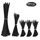 500 Pcs Cable Ties,Black Nylon Cable Zip Ties for Indoor and Outdoor (4,6,8 Inch)