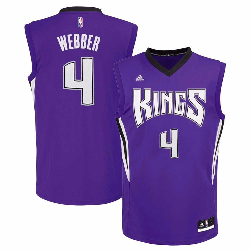 newest a1d14 5e86d adidas Chris Webber Sacramento Kings NBA Men's Purple Replica Jersey