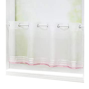 Elegant Yujiao Mao 1er Pack Voile Scheibengardine Mit Aufgenähten Satinbändern Ösen  Küchen Vorhang HxB 45x90cm, Pink