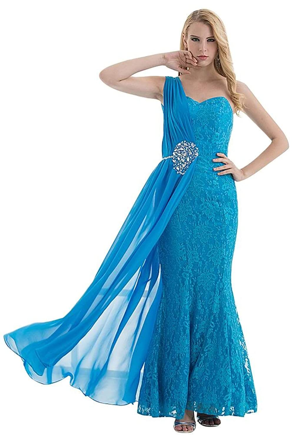 GEORGE BRIDE Exotic One-Shoulder Full Lace Beaded Long Dress