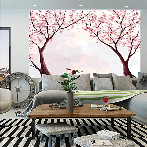 Kitchen Decor Huge Photo Wall Mural,Japanese Floral Design Sakura Tree Cherry Blossom Spring Country Home Watercolor Style,Self-Adhesive Large Wallpaper for Home Decor 108x152 inches,Pastel Pink