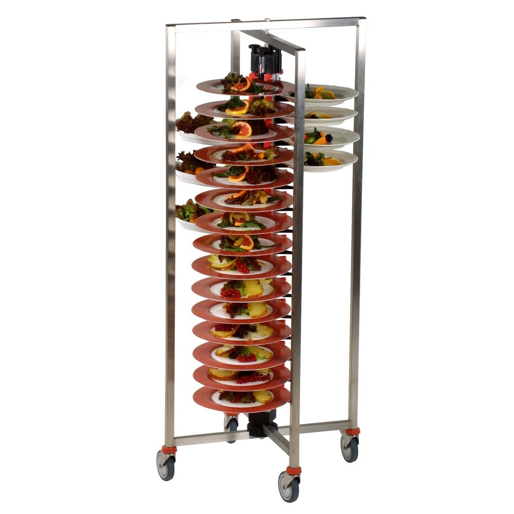 Plate-Mate PM60-145 Stainless Steel 60 Plates Collapsible Mobile Catering Cart, 450 lbs Capacity, 58-1/4'' Height