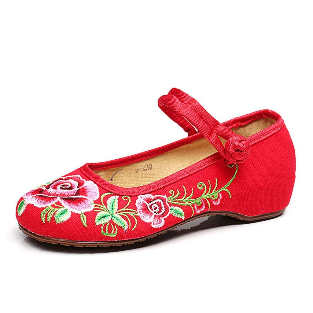 XHX B07HCG59L3 de Chaussures brodées à Chaussures la Mode Chaussures Plates décontractées Respirantes Chaussures de Mariage Rouges Chaussures élégantes de Ballet (Couleur : Red, Taille : 40) Red 435cb9e - piero.space