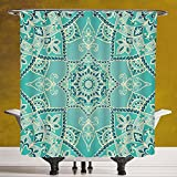 Durable Shower Curtain 3.0 by SCOCICI [ Turquoise,Arabic Islamic Persian Ottoman Motifs Turkish Iranian Ethnic Artsy Mandala Boho,Yellow Blue ] Digital Printing Polyester Antique Theme with Adjustable