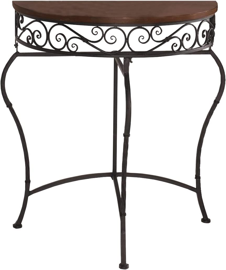 Boston Metal Half Moon Console Table with Wood Top, Scroll Accent, Dark Brown Product SKU HD223560