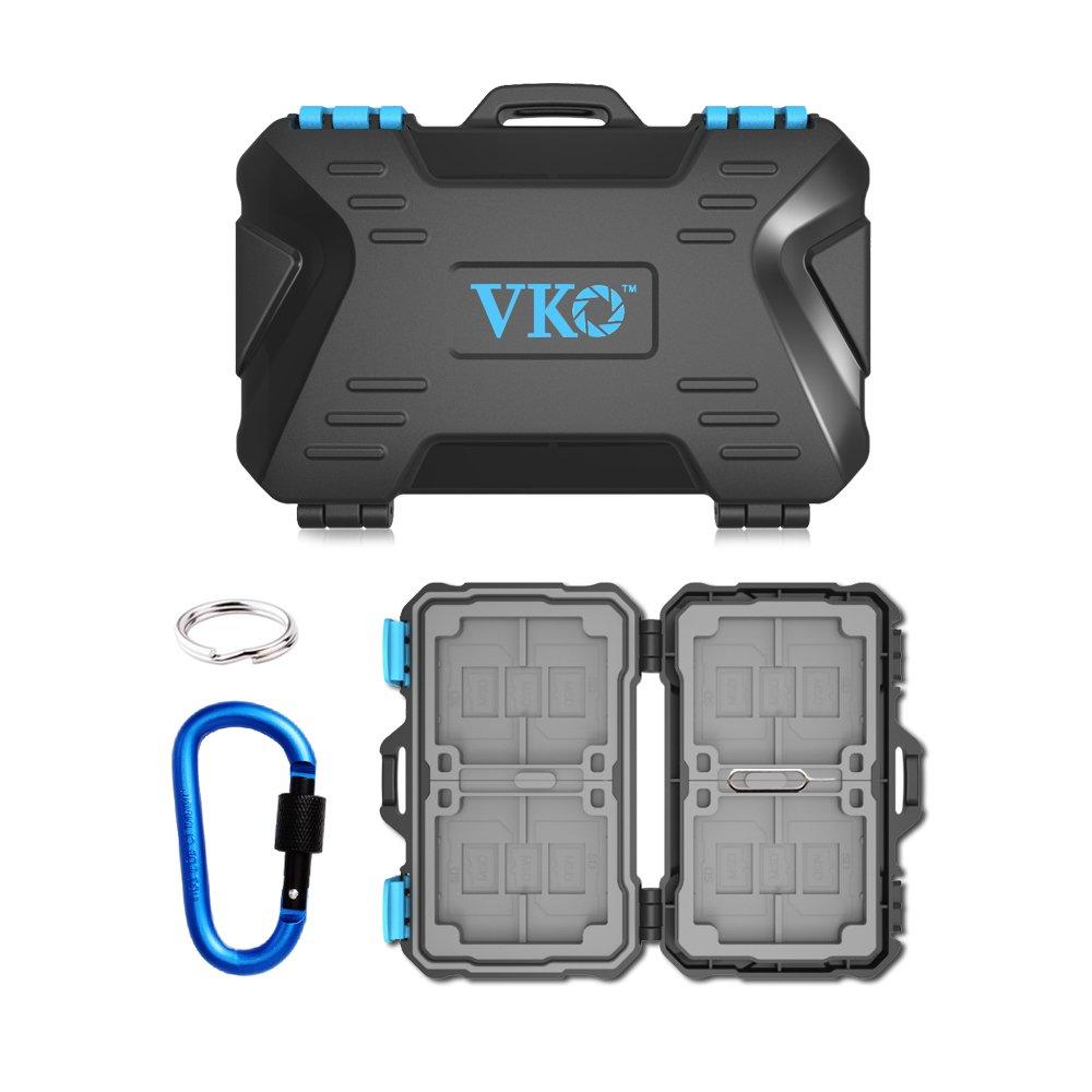 VKO 26 Slots Memory Card Case,SD Card Holder,SD Card Case,CF Card Holder,CF Card Case,Micro SD Card Case,Micro SD Card Holder,Water-Resistant Memory Card Cover Protector Blue Carabiner
