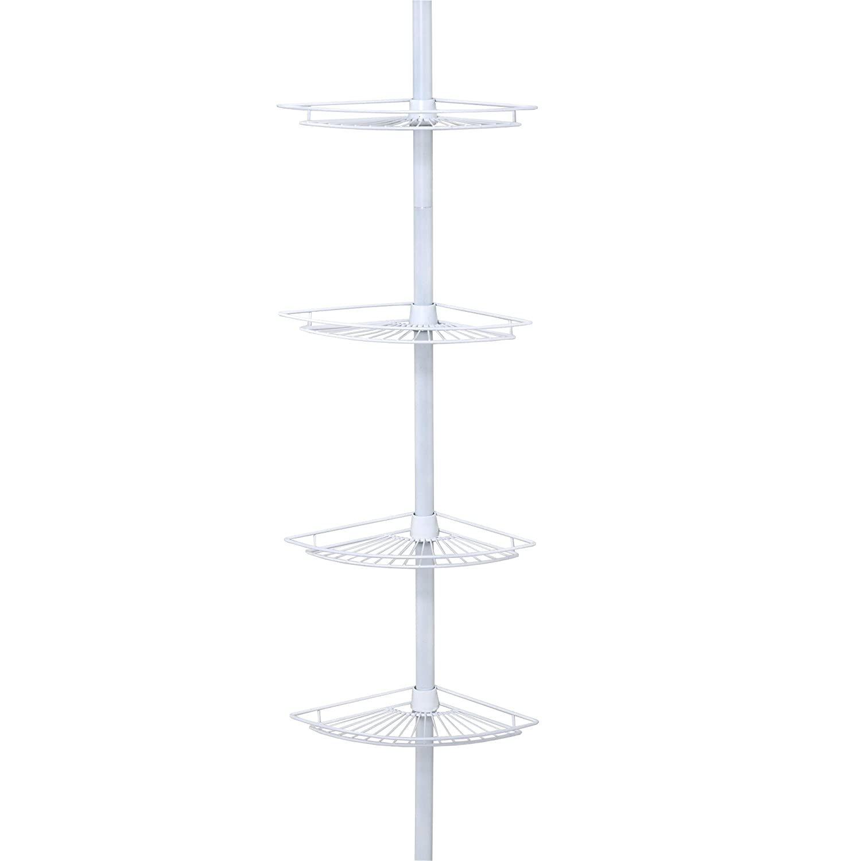 Zenna Home 2114W, Tension Corner Pole Caddy, White ZPC Zenith Products