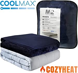 MP2 Weighted Blanket with Reversible Coolmax Cooling and Warm Duvet Cover for Hot and Cold Sleepers Nano - Ceramic Beads 60 x 80 Inches 25lbs Navy