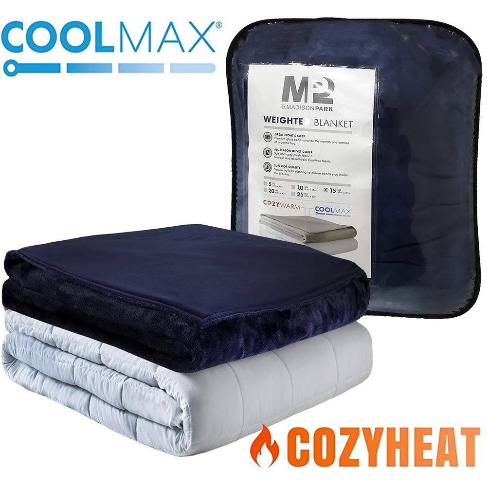 MP2 Weighted Blanket with Reversible Coolmax Cooling and Warm Duvet Cover for Hot and Cold Sleepers Nano - Ceramic Beads 60 x 80 Inches 20lbs Navy