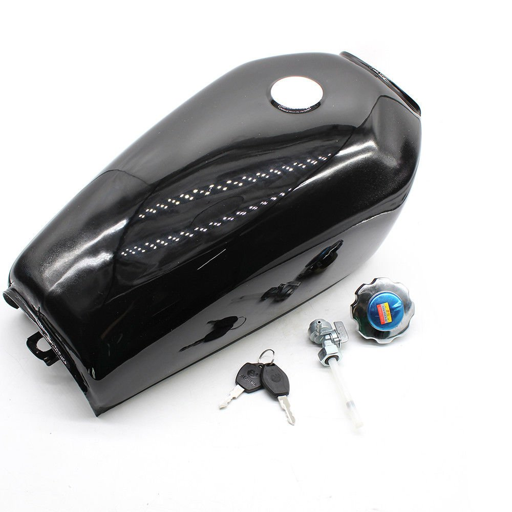 BSTOOL 4-Colors Motorcycle Silver Fuel Gas Tank for Honda CG125 Cafe Racer 2.4Gallon 9L (Silver)