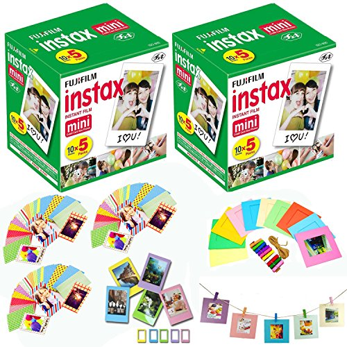 Fuji Instax Mini Instant Film 100 Shots with Bonus 5-Pack Multicolor Desk Frames + 60 Decorative Skin Stick-on Stickers for Fuji Instax Mini 9, Mini 8, SP-2 and SP-1 Instant Printers