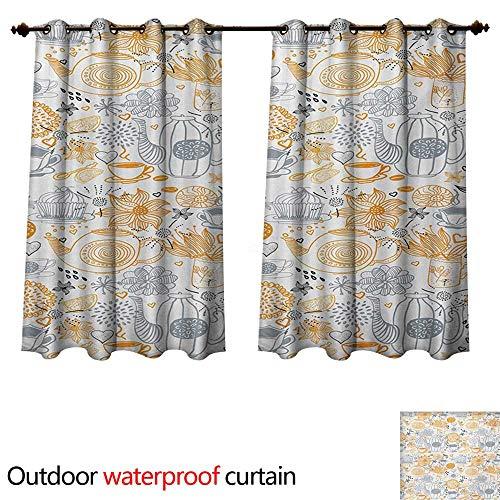 WilliamsDecor Tea Party Home Patio Outdoor Curtain Colorful Floral Arrangement with Teacups and Pots Kettle Retro Art Design Nature W96 x L72(245cm x 183cm)