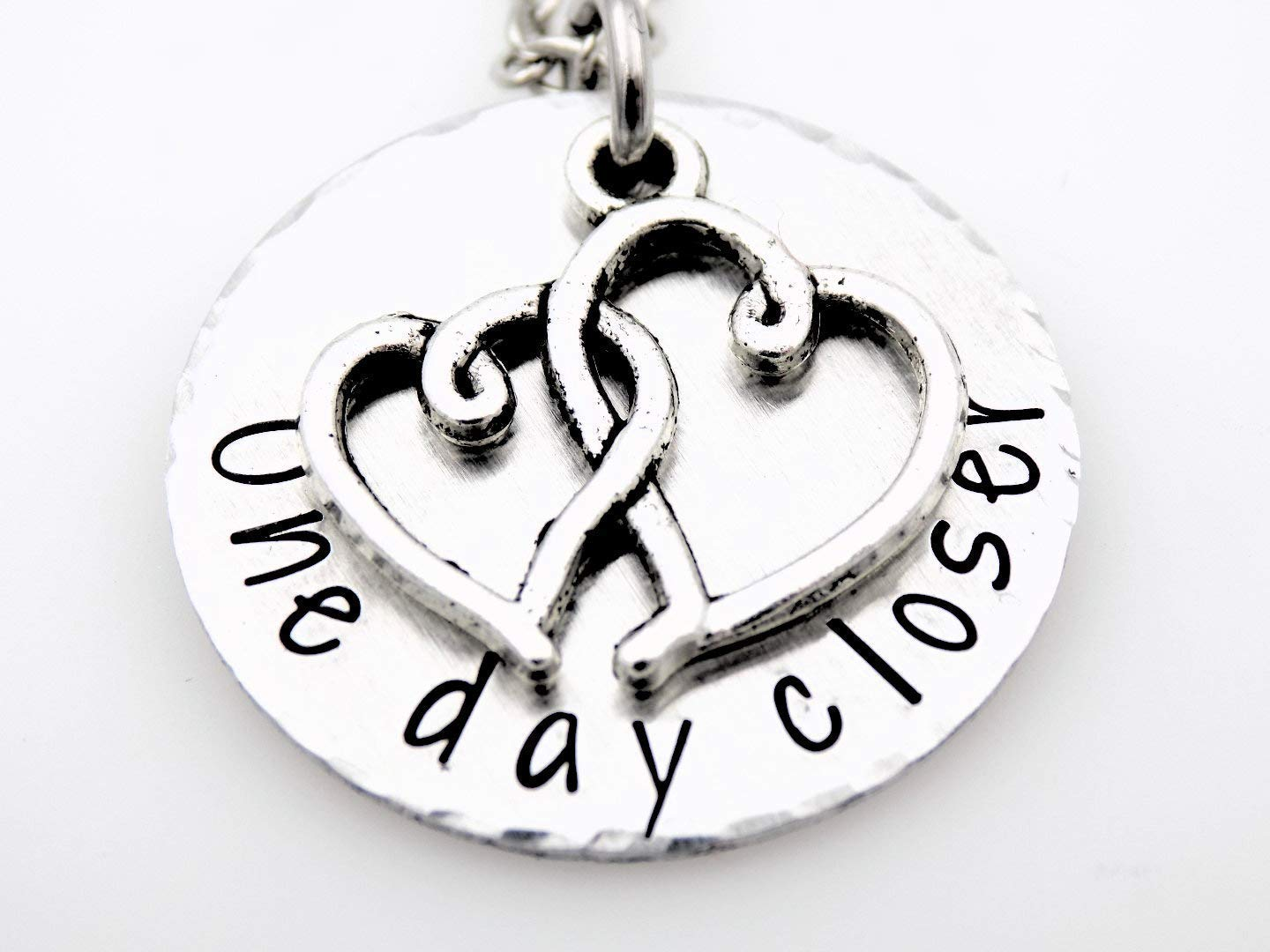 One day closer hand stamped necklace for her long distance love  relationship jewelry going away gift deployment marine wife ldr jewelry gift