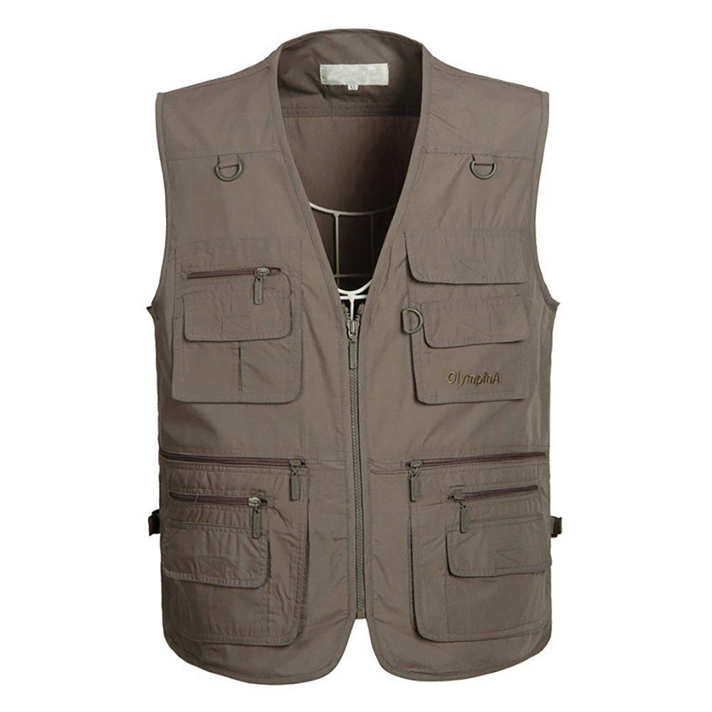 UGGKA US Men's Casual Outdoor 16 Pockets Journalist Fishing Photo Travel Vest Plus Size