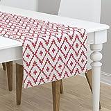 Table Runner - Modern Diamonds Stripe Southwest Chevron Boho Red by Fable Design - Cotton Sateen Table Runner 16 x 90