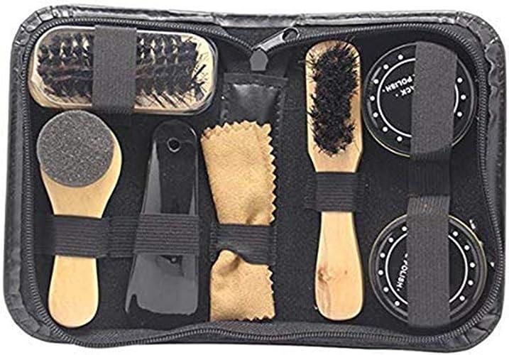 DIYARTS 8 En 1 Kit De Nettoyage De Chaussures Set De Pinceaux Shine Polish Noir /& Neutre Avec /Étui De Transport
