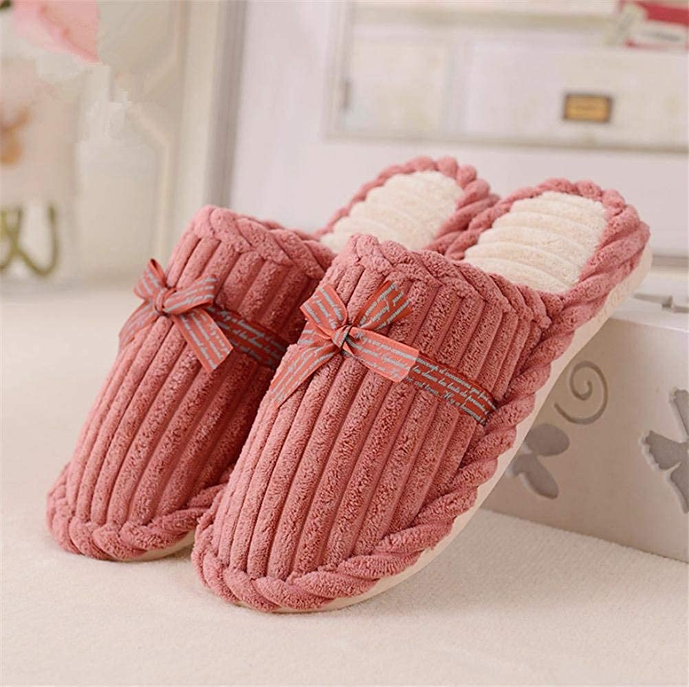 3 JaHGDU Lady Cotton Slippers Home shoes Keep Warm in Autumn and Winter Slippers for Women pink Red bluee Pink
