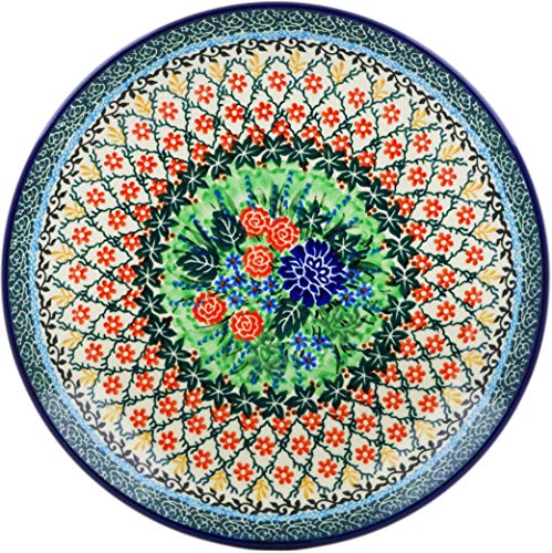 Polish Pottery 10½-inch Dinner Plate made by Ceramika Artystyczna (Garden Trellis Theme) Signature UNIKAT + Certificate of Authenticity ()
