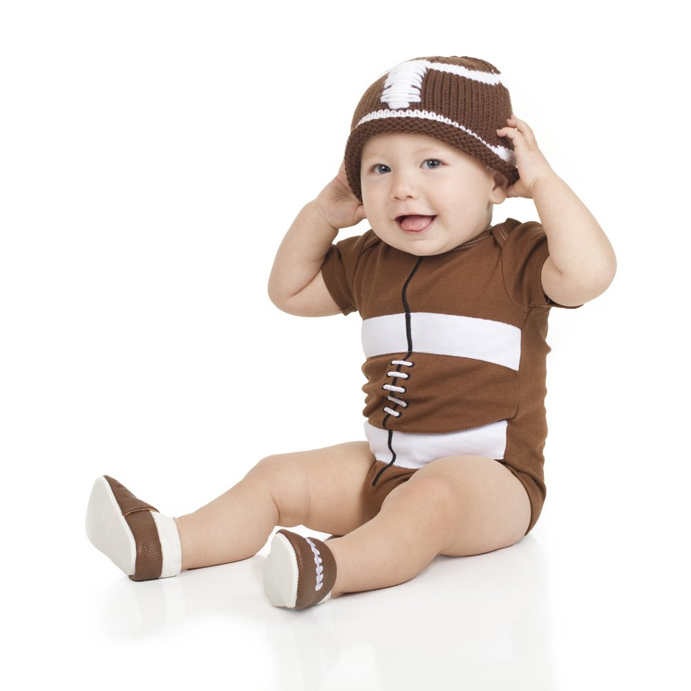 3e947ba82fd Baby boys or girls brown knit crochet football hat with laces by juDanzy  larger image