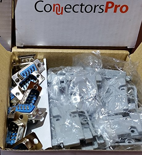 Pc Accessories - Connectors Pro 10 Sets Solder Type DB9 Male and Plastic Hoods, D-Sub Connector + Hoods, 20-Pack (10 DB9 Males + 10 Hoods) (D-sub Hood)