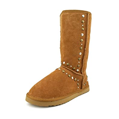 Bolted Pull On Mid Calf Boot Winter Shoe Suede Brown