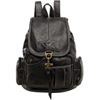 SPAHER Leather Backpack Women Fashion Daypack Girls Vintage Style School Bag
