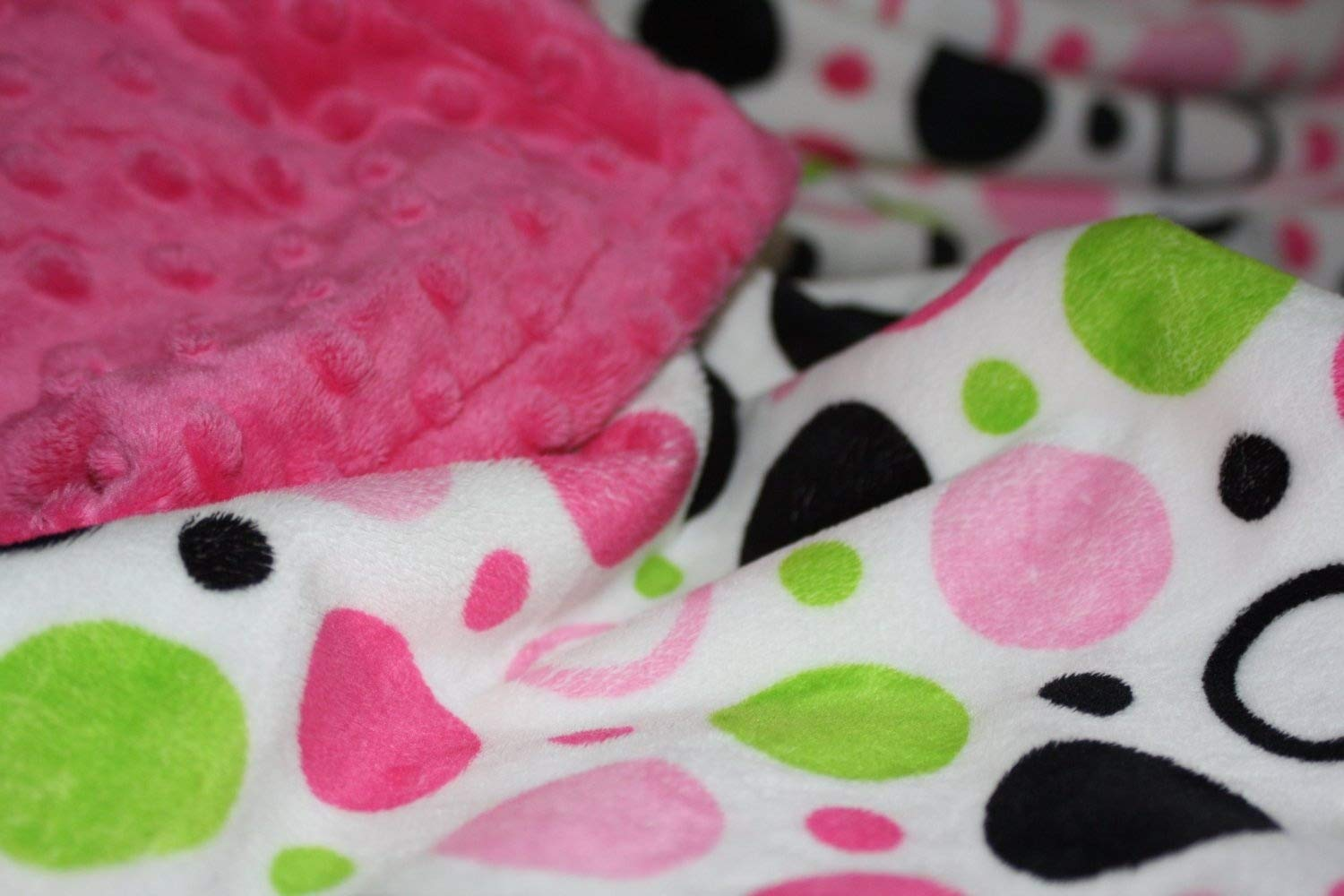 (Large (@90cm x 100cm), Hot Pink) - Minky Blanket - Baby Blanket, Toddler Blanket, Child Blanket - Circles and Polka Dot Print Minky (Large (@90cm x 100cm), Hot Pink) Large (@35\ ホットピンク B016Z3AAYQ