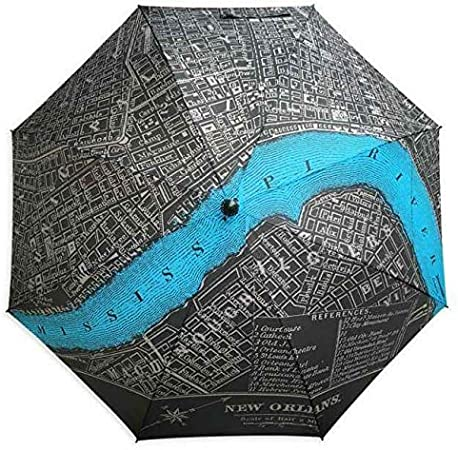 Compact 42, Black New Orleans Vintage Map Auto Open Umbrella