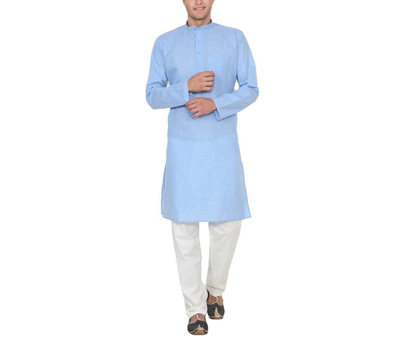 Royal Kurta Men's Cotton Linen Kurta Pyjama Set 40 Sky Blue