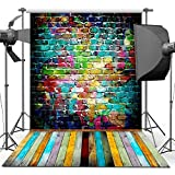 ANVOT Photography Backdrop, 5x7 ft Colorful Brick Wall Wood Floor Backdrop For Studio Props Photo Backdrop