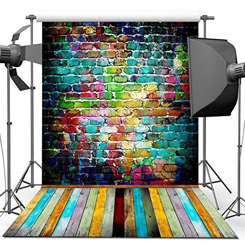 (econious Photography Backdrop, 5x7 ft Colorful Brick Wall Wood Floor Backdrop for Studio Props Photo)