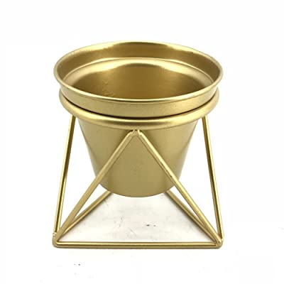 "Modern Gold Metal Planter Pot Urn with Triangle Framework Stand Golden(5"" x 5.5"" x 5.8"") : Garden & Outdoor"