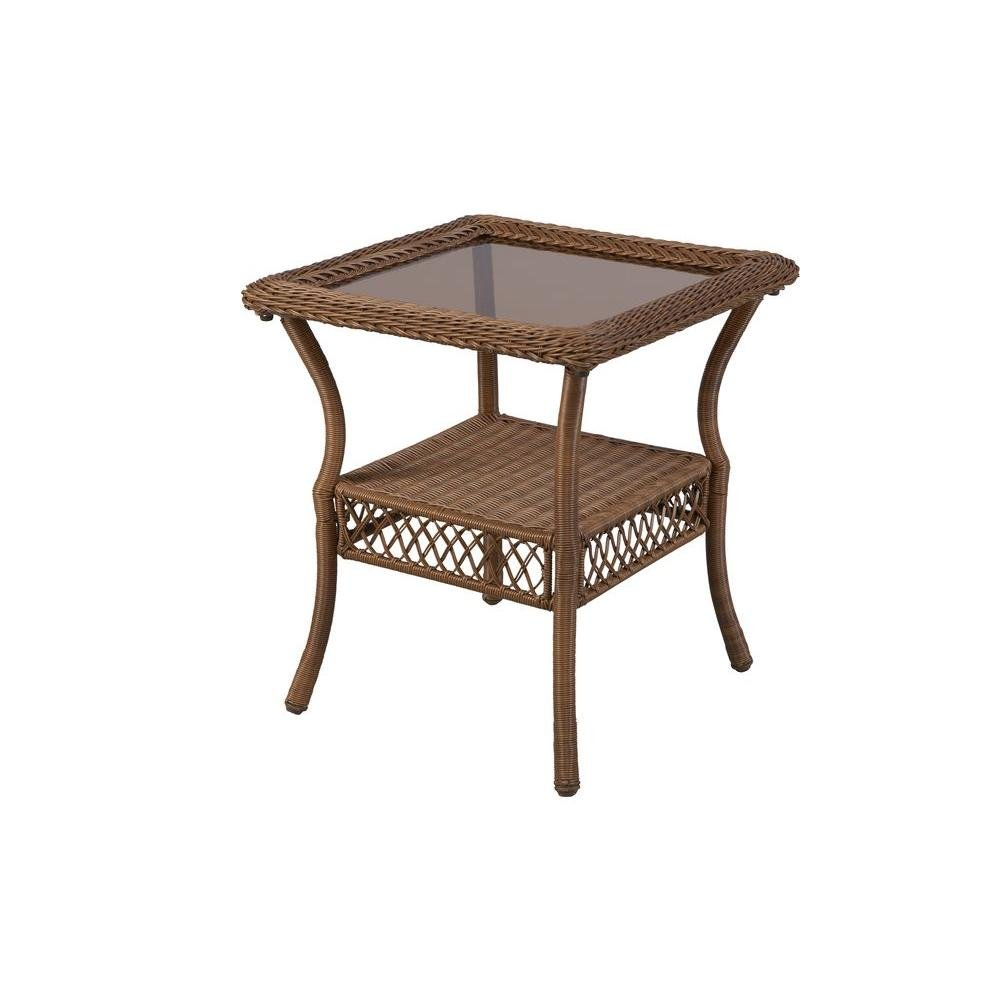 amazoncom  spring haven brown allweather wicker patio side  - amazoncom  spring haven brown allweather wicker patio side table  patiolawn  garden