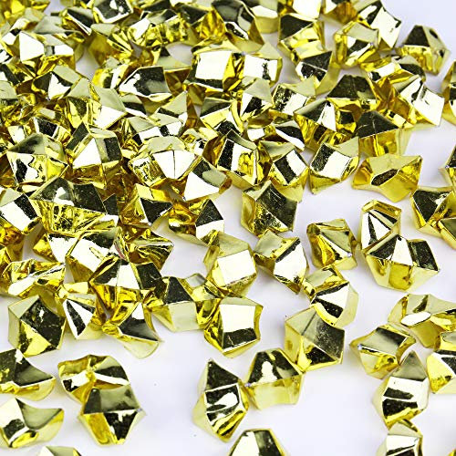 CYS EXCEL Acrylic Ice Rocks for Vase Fillers, Acrylic Gems for Table Scatters, Event, Wedding, Birthday Decoration (Acrylic Ice Gold, 1 Pound)