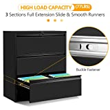 3 Drawers Black Lateral File Cabinet with