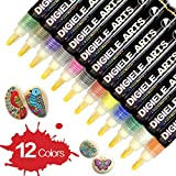 Paint Pens for Rock Painting, DIGIELE 12pcs Waterproof Pens for Pebble Painting & Stone Art Drawing, Round and Chisel Tip, Permanent Acrylic Paint Markers Set for Kids, DIY for Ceramic, Porcelain, Mug