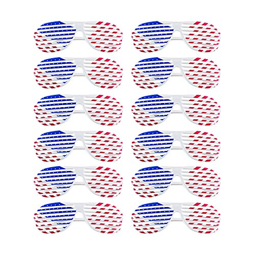 American Flag USA Patriotic Design Plastic Shutter Glasses Shades Sunglasses Eyewear for Party Props, Decoration (12 Pairs)