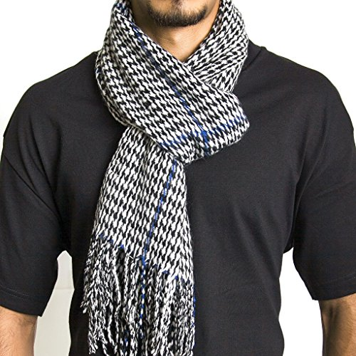 Alpine Swiss Mens Plaid Scarf Soft Winter Scarves Unisex,Blue Houndstooth,One Size